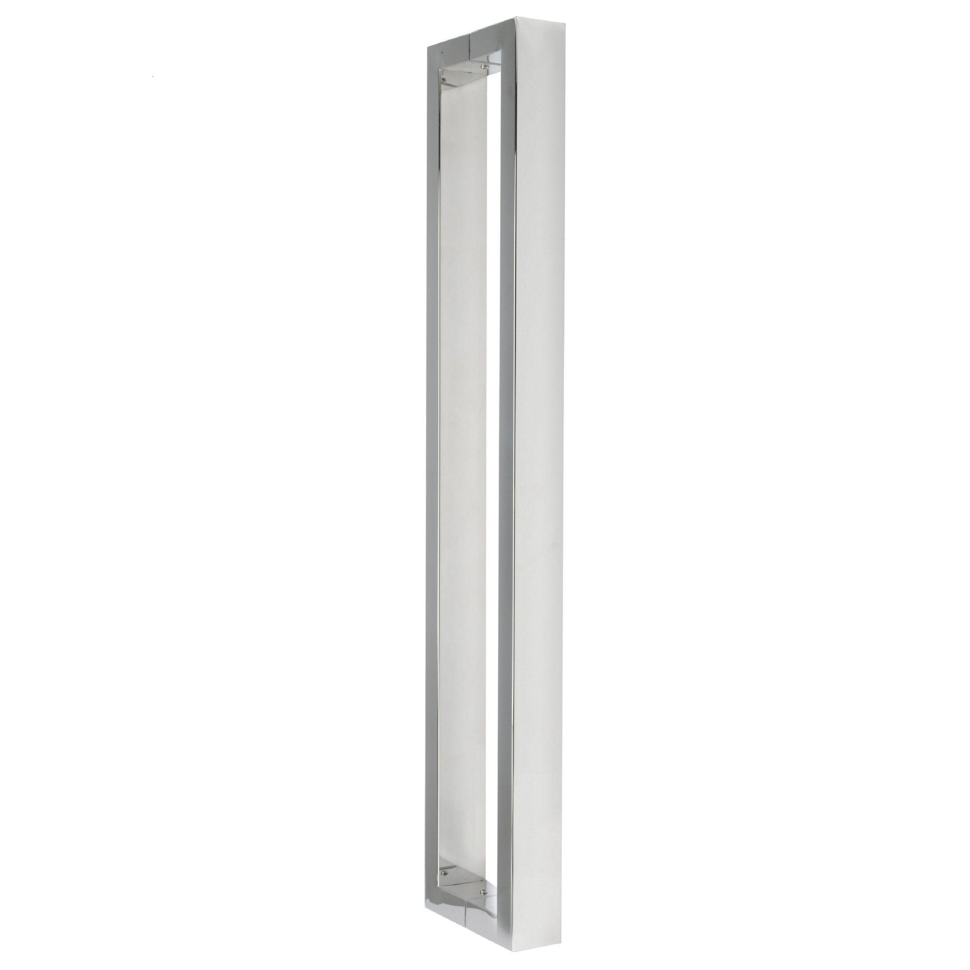 Puxador inox para porta madeira e vidro retangular U barra chata 60cm H07
