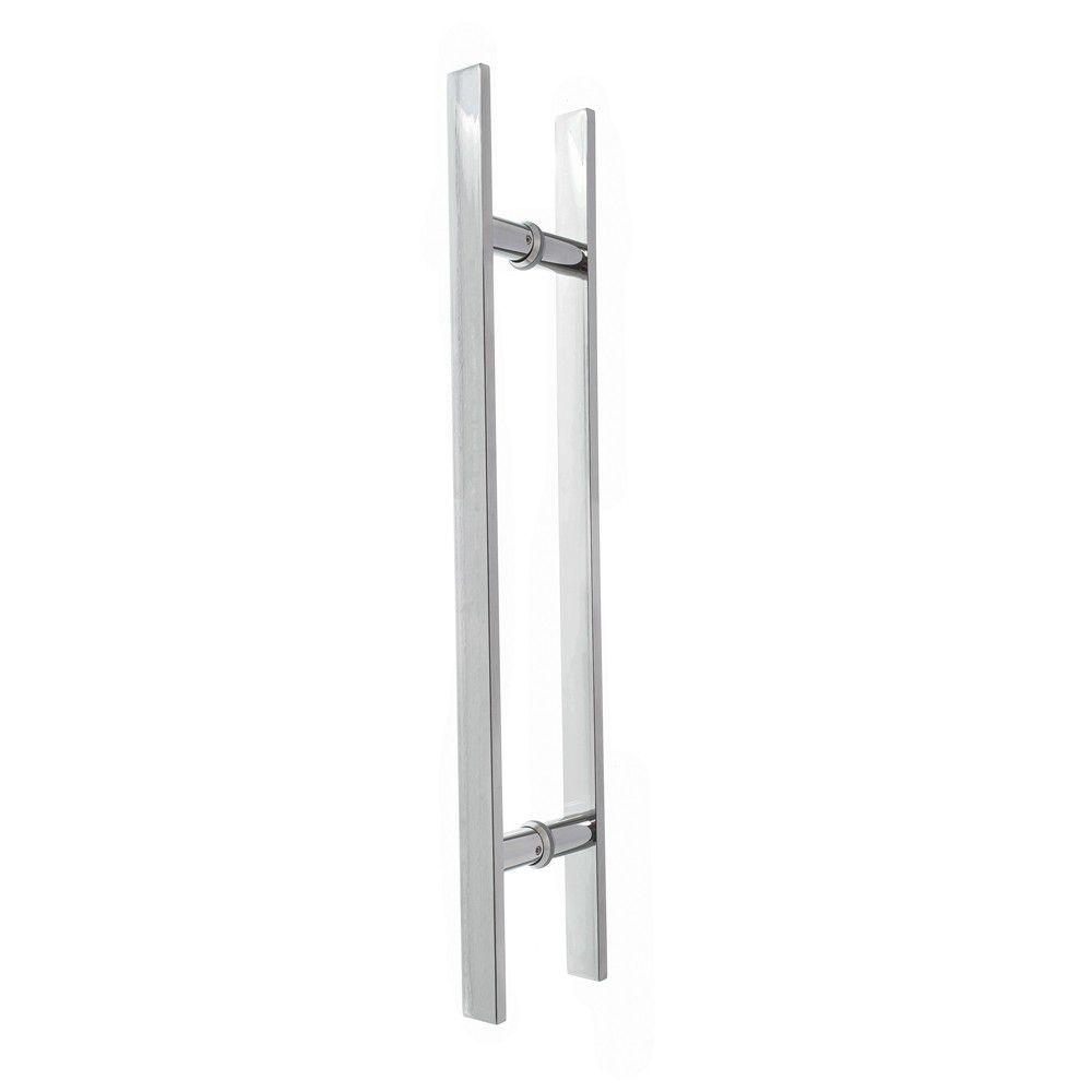 Puxador inox para porta madeira e vidro reto barra chata 60x80cm H06