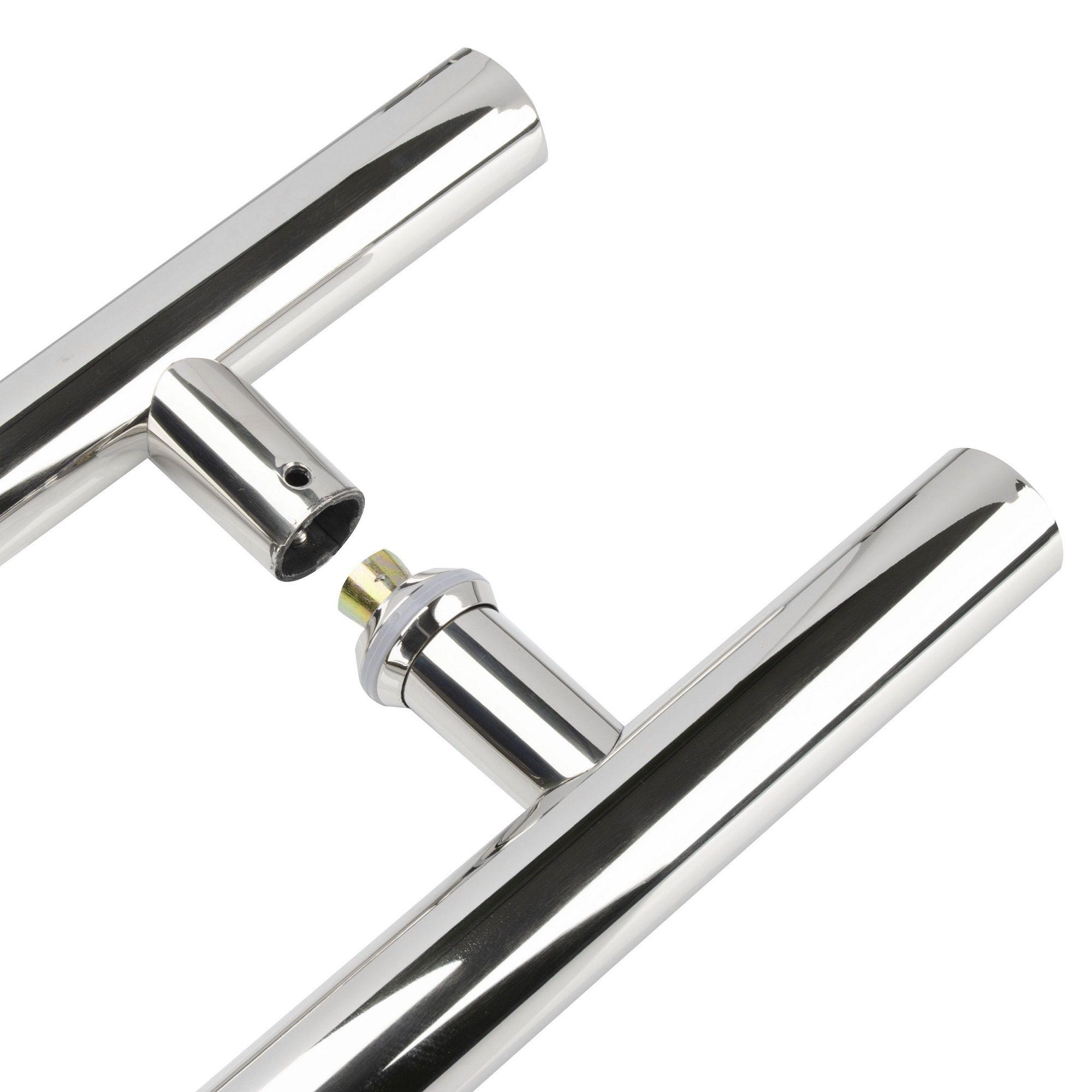 Puxador inox para porta madeira e vidro tubular redondo 40x60cm H05