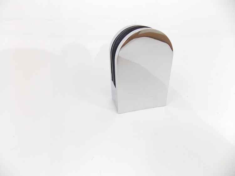 """Suporte presilha curva para corrimão de escada tubo 2"""" / vidro cromada"""