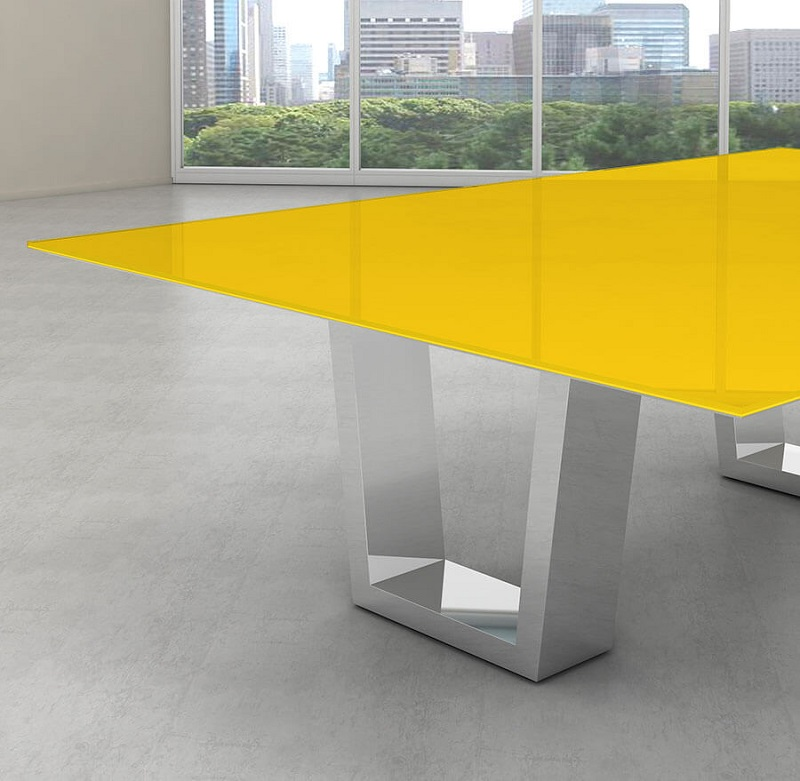 Tampo de vidro temperado amarelo para mesa 120x120cm 8mm