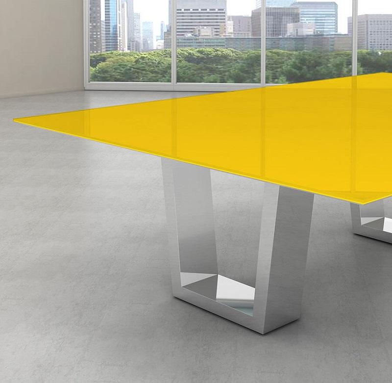 Tampo de vidro temperado amarelo para mesa 90x90cm 8mm