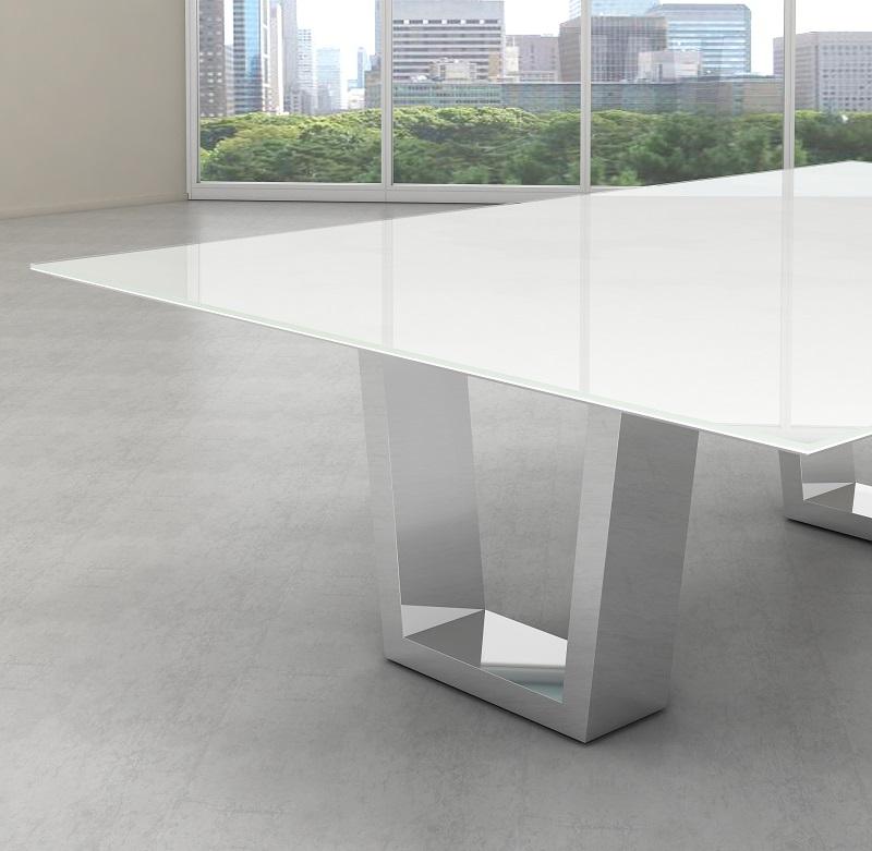 Tampo de vidro temperado branco para mesa 80X160cm 8mm