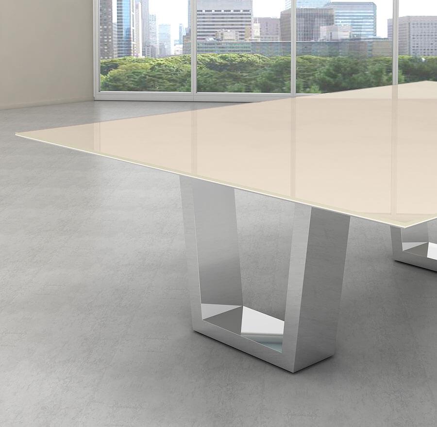Tampo de vidro temperado off-white para mesa 100x100cm 8mm