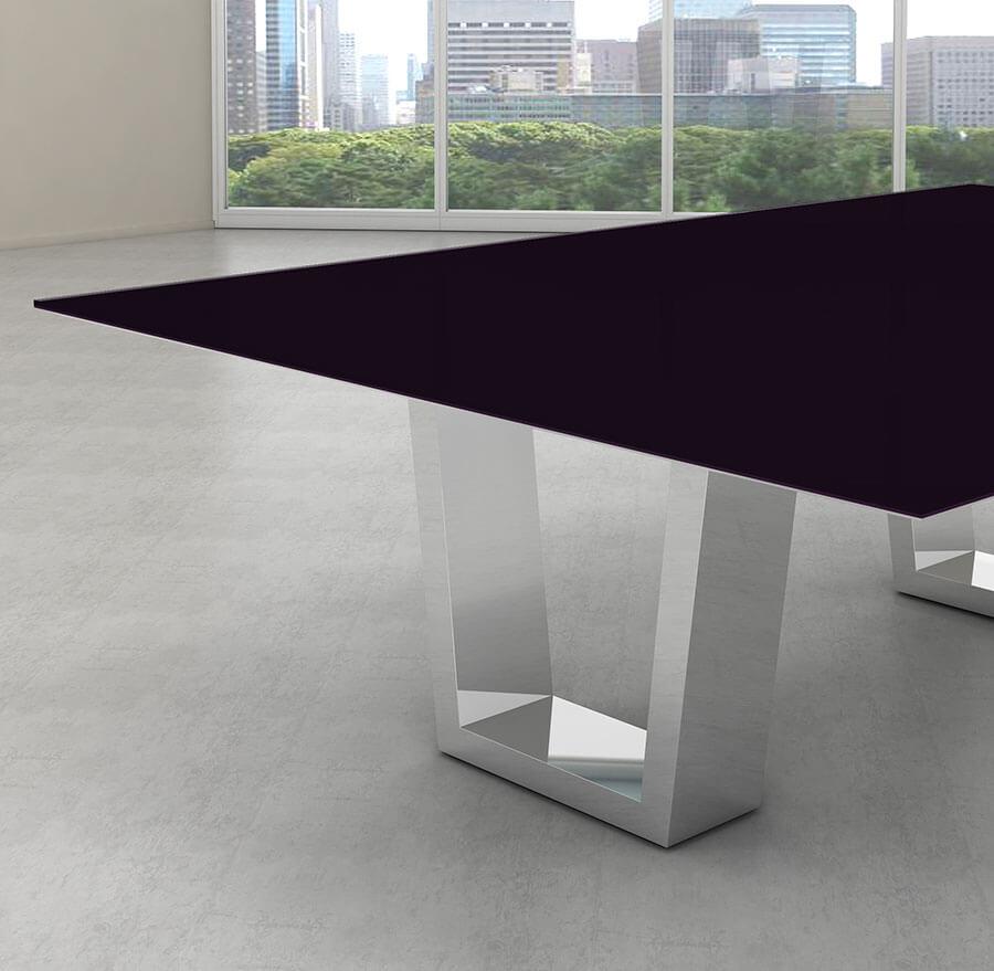 Tampo de vidro temperado preto para mesa 100x100cm 8mm