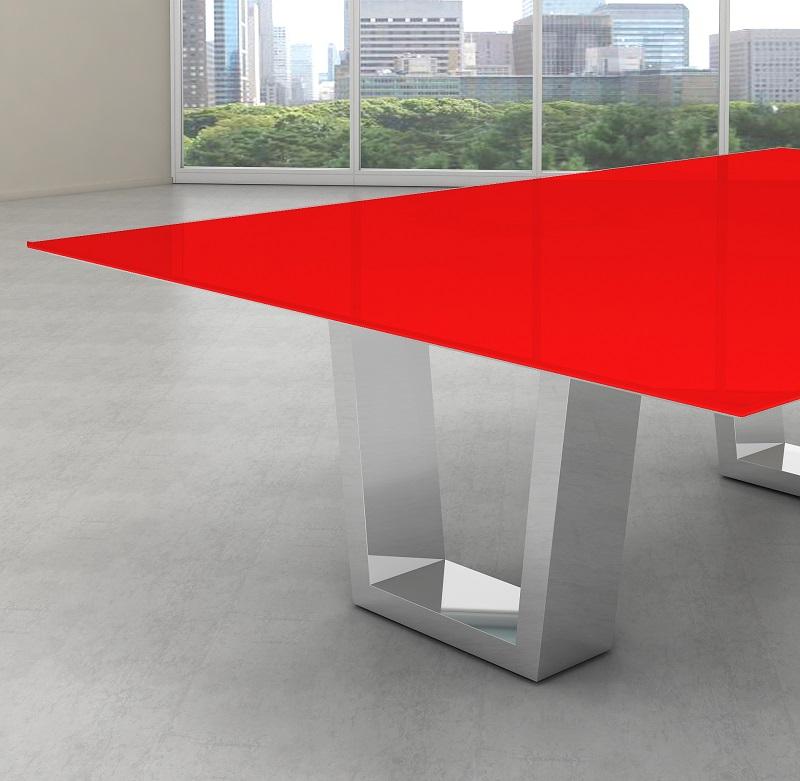 Tampo de vidro temperado vermelho para mesa 100x100cm 8mm