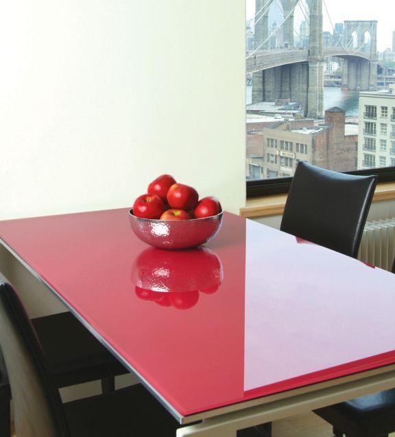 Tampo de vidro temperado vermelho para mesa 80x140cm 8mm