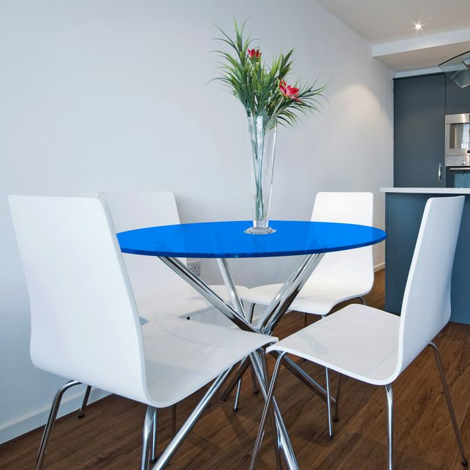 Tampo redondo de vidro temperado azul para mesa 1,10m 8mm