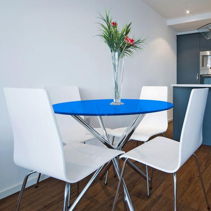 Tampo redondo de vidro temperado azul para mesa 1,20m 8mm