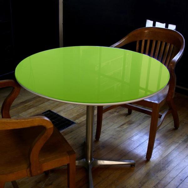 Tampo redondo de vidro temperado verde para mesa 1m 8mm