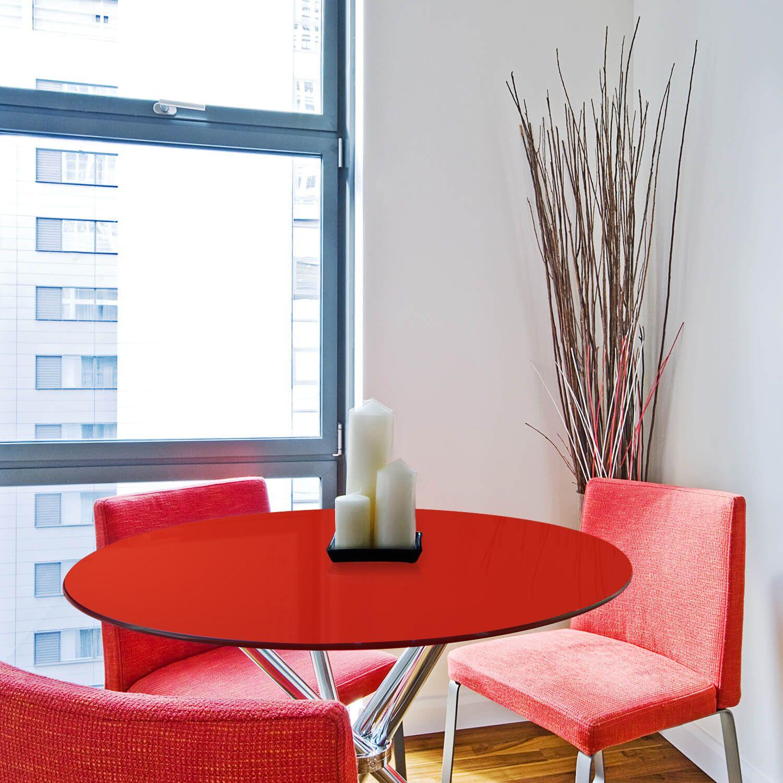 Tampo redondo de vidro temperado vermelho para mesa 90cm 8mm