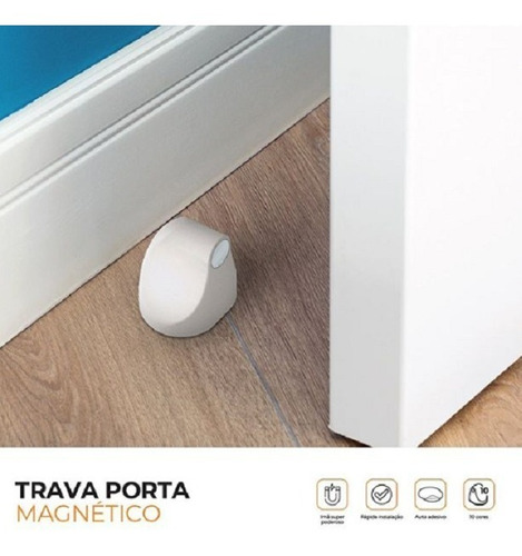 Trava Porta Magnético Cor Cromado Comfortdoor Com Imã