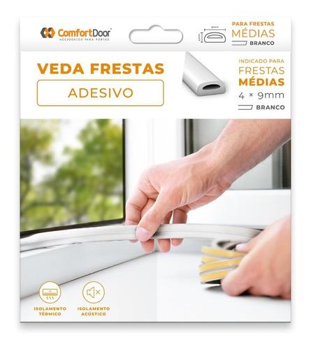 Veda Fresta Adesiva Janela Porta 4mm Branco - 6 Metros