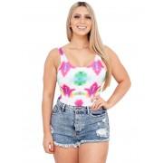 Body Suplex Feminino Collant Regata Tie Dye Colorfull