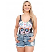 Body Suplex Feminino Regata Collant Caveira Mexicana Sugar Skull