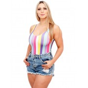 Body Suplex Feminino Regata Collant Listrado