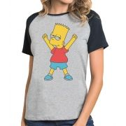 Camiseta Fem Raglan Bart Simpson Comemorando ES_037