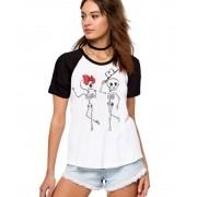 Camiseta Fem Raglan Casal Caveira Esqueleto ES_045