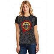 Camiseta Feminina T-Shirt Full Printed Banda Guns N' Roses Bullet Logo Baby Look FP_026