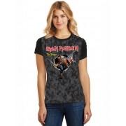 Camiseta Feminina T-Shirt Full Printed Banda Iron Maiden The Trooper Baby Look FP_030