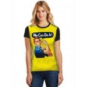 Camiseta Feminina T-Shirt Full Printed We Can Do It Baby Look FP_018