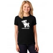 Camiseta Feminina T-Shirt I Love My Pug Baby Look ER_155