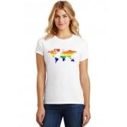Camiseta Feminina T-Shirt LGBT Mapa Baby Look ES_155