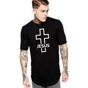 Camiseta Masculina Oversized Long Line Crucifixo Jesus Religiosa Cruz ER_168