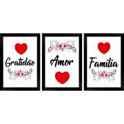 KIT 3PÇ Quadro Decorativo MDF Gratidão Amor Família