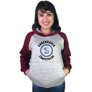 Moletom Canguru Feminino Raglan Faculdade Curso Engenharia da Computação