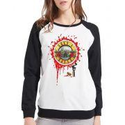 Moletom Raglan Feminino Guns N' Roses Bullet Logo ES_112