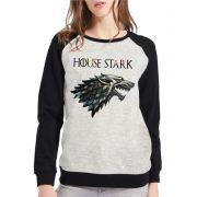 Moletom Raglan Feminino Mescla Game Of Thrones House Stark ES_178