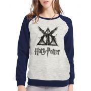 Moletom Raglan Feminino Mescla Harry Potter Relíquias Da Morte ES_135