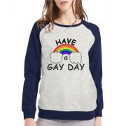 Moletom Raglan Feminino Mescla LGBT Have a Gay Day ES_157