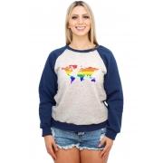 Moletom Raglan Feminino Mescla LGBT Mapa Orgulho Gay ES_155