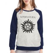 Moletom Raglan Feminino Mescla Supernatural - Anti Possessão ES_093