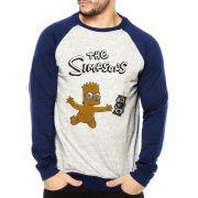Moletom Raglan Masculino Mescla Bart Simpson Nevermind ES_107