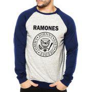 Moletom Raglan Masculino Mescla Ramones Logo ES_068