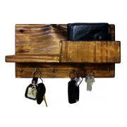 Porta Chaves Madeira Rústica Celular Carteira Chaveiro