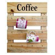 Porta Xícaras de Parede Cru Madeira Rústica Canecas Coffee