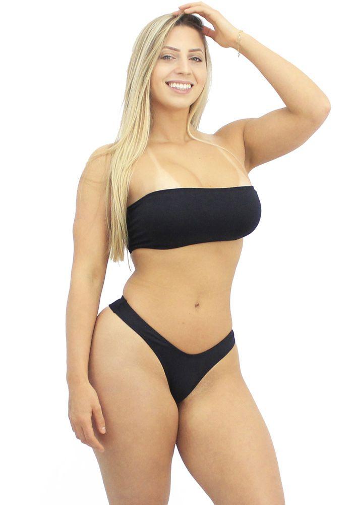 Biquini Asa Delta Fio Duplo Top Faixa Sexy Preto