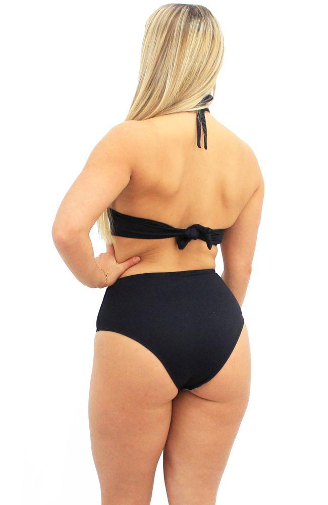 Biquini Hot Pants Cintura Alta Frente Única