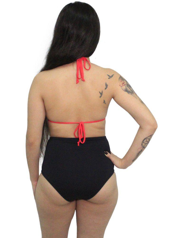 Biquini Hot Pants Cortininha Poá Bojo