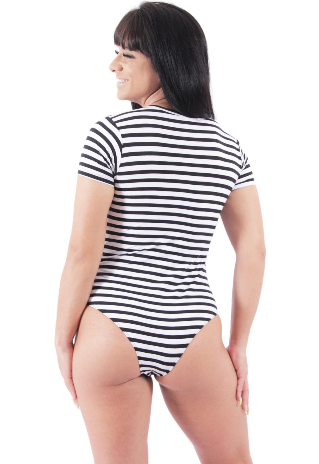 Body Feminino Collant Listrado Poliamida