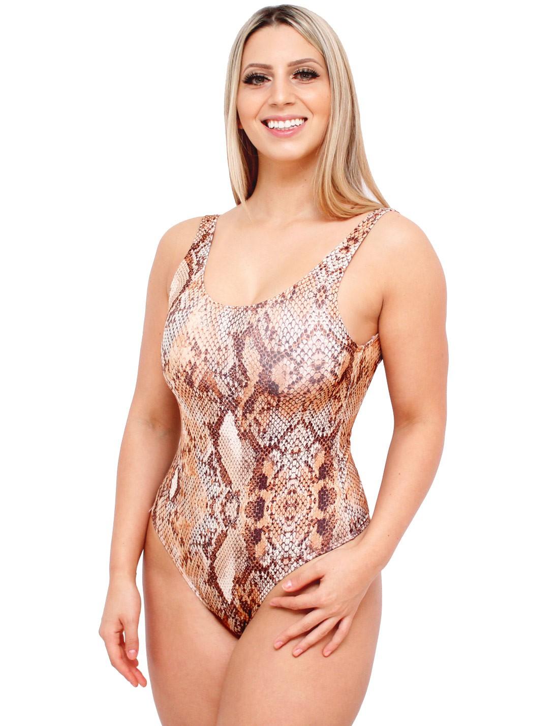 Body Suplex Feminino Regata Collant Animal Print Cobra Snake Skin