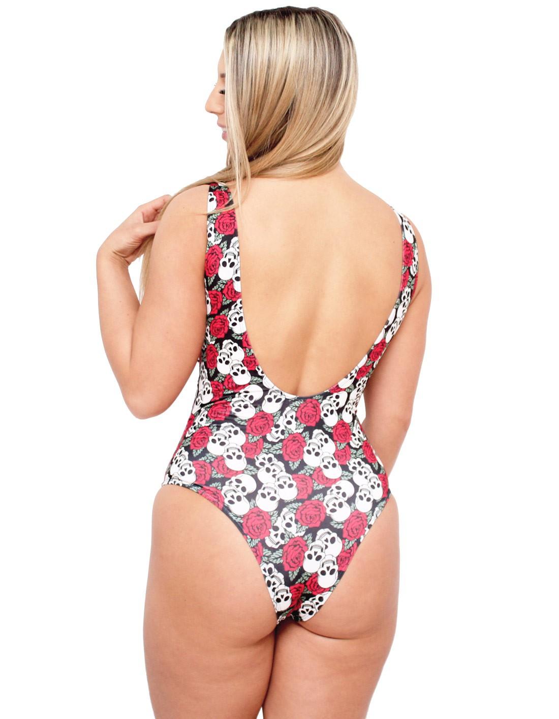 Body Suplex Feminino Regata Collant Caveiras e Rosas