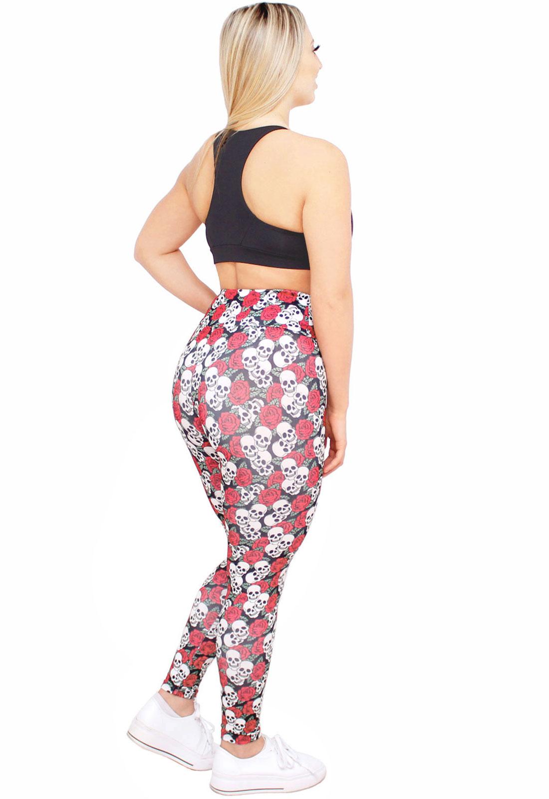 Calça Legging Feminina Estampada Caveiras e Rosas