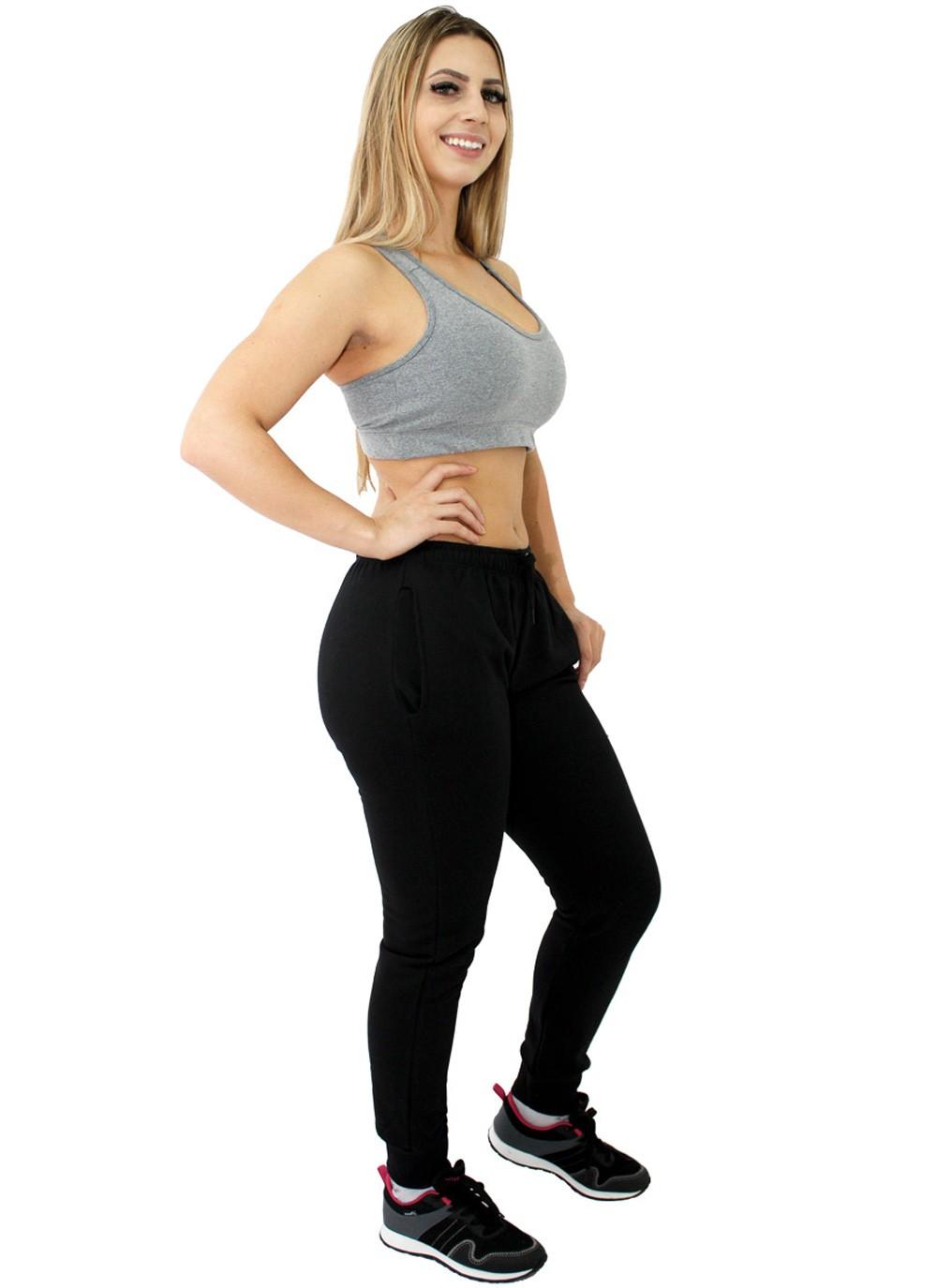 Calça Moletom Feminina Jogger Básica Lisa