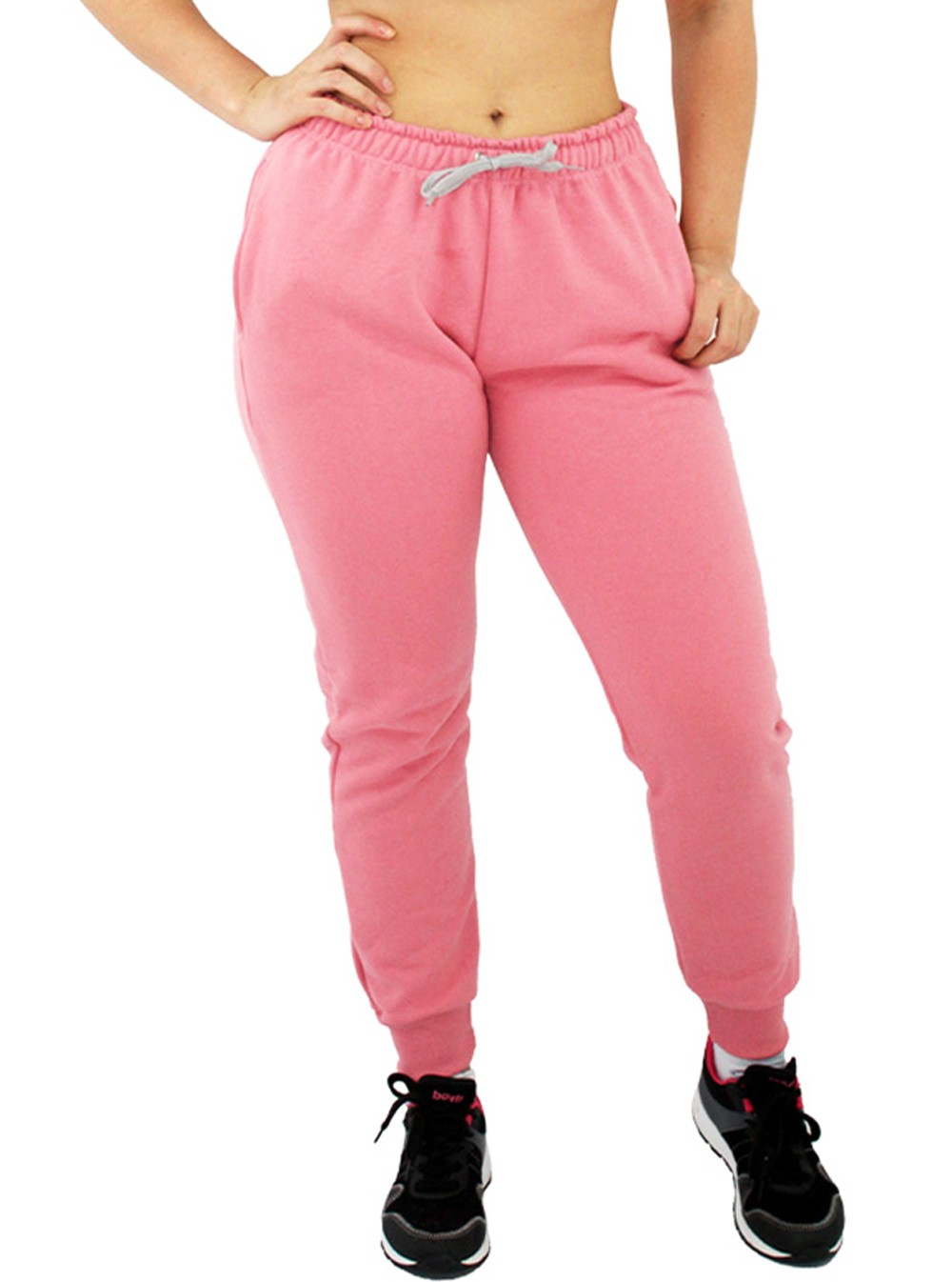 Calça Moletom Feminina Jogger Básica Rosa