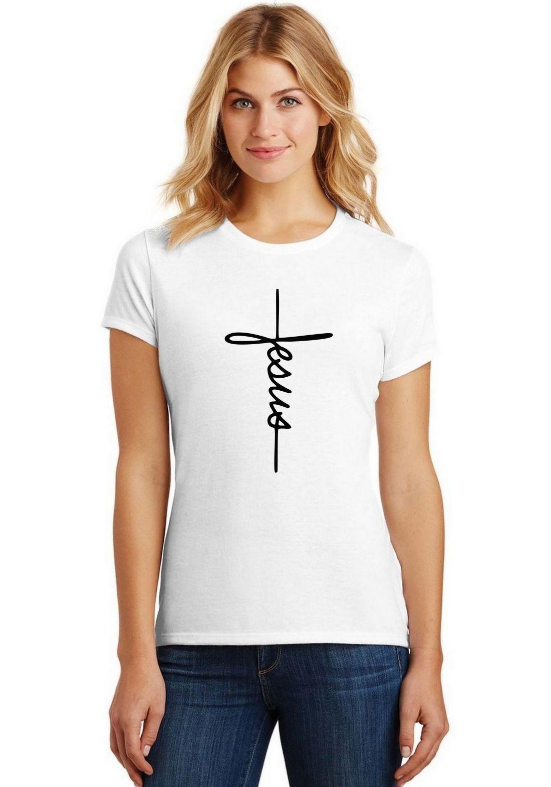Camiseta Feminina Jesus T-Shirt Cristã Baby Look Religiosa ES_169